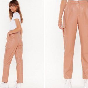 Nasty Gal Pants & Jumpsuits - NWT Nasty Gal Pink Faux Leather Cropped Cargo Pant